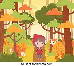 équitation, peu, capuchon, fée, regarder, rouges, marche, loup, conte, forêt, dessin animé