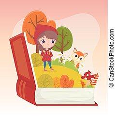 équitation, peu, capuchon, herbe, fée, livre rouge, loup, conte, forêt, dessin animé