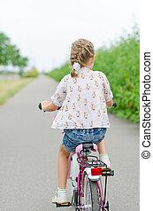 équitation, peu, park., vélo, girl