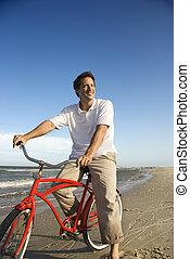 équitation, plage., vélo, rouges, homme