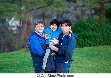 équitation, porcin, handicapé, enfant biracial, famille, sien, dos, soeur