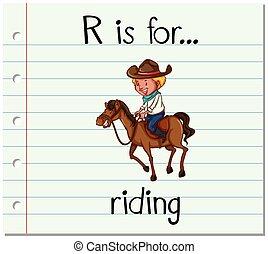 équitation, r, lettre, flashcard