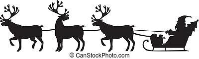 équitation, reindeers, claus, santa, traîneau