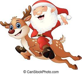 équitation, renne, claus, santa, heureux