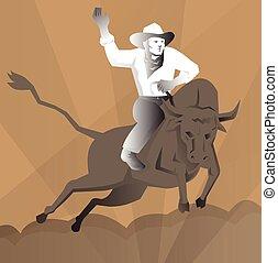 équitation, rodéo, cow-boy, retro, taureau