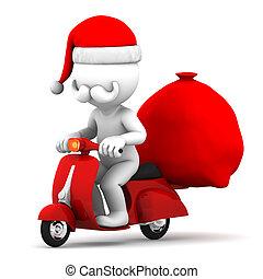 équitation, scooter, claus, santa