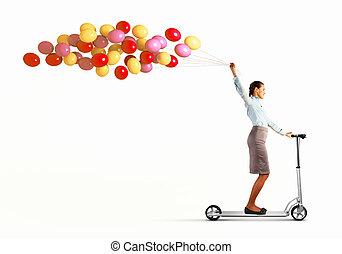 équitation, scooter, femme, jeune