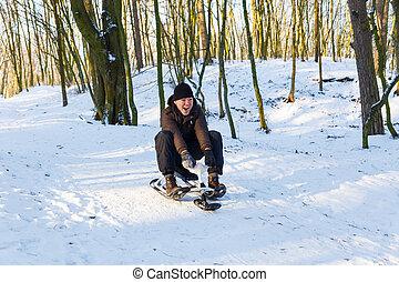 équitation, scooter, homme, jeune, neige