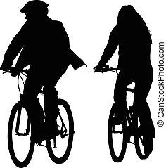 équitation, silhouettes, bicycles, cuople, jeune