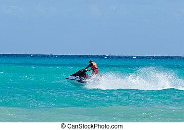 équitation, ski, jet, homme