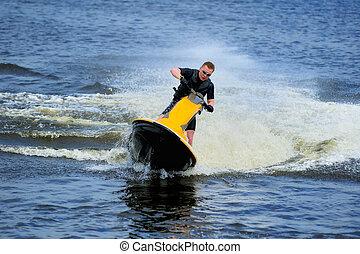 équitation, ski, jeune, jet, homme