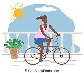 équitation, sport, actif, vélo, femme, promenade
