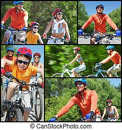 équitation, sur, bicycles