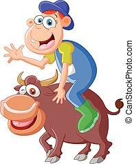 équitation, taureau, dessin animé, homme