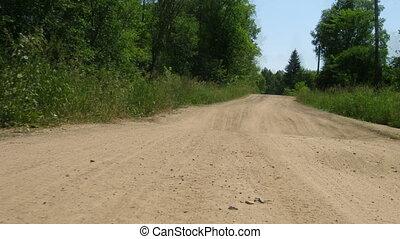 équitation, timelapse, -, forêt, route