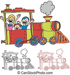 équitation, train, enfants