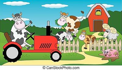 équitation, vache, tracteur