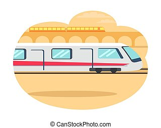 équitation, vecteur, express-train, jeûne, illustration