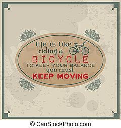 équitation, vie, aimer, bicycle.
