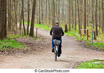 équitation, vieille bicyclette, homme