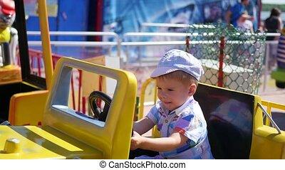 équitation, voiture, amusant, enfant, amusement, park.