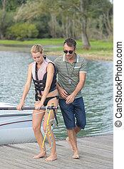 équitation, wakeboarding, lac