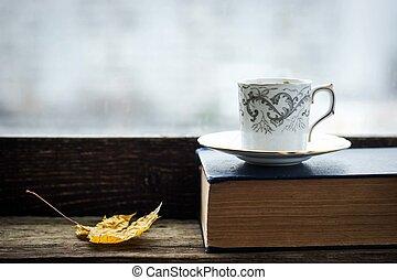 érable, livre, tasse, vieux, café, feuille