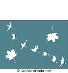 érable, vecteur, pousse feuilles, silhouettes, grues