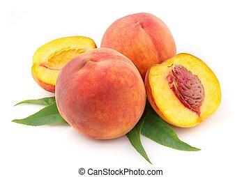 érett, őszibarack, gyümölcs