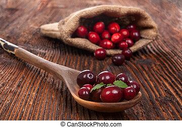 érett, friss, cranberries