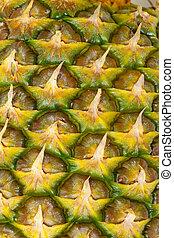 érett, gyümölcs, struktúra, ananász