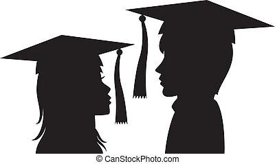 érettségizik, fiatalember, és, nő