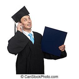 érettségizik, telefon, diák, beszél