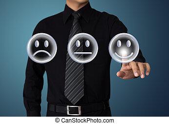 érint, üzletember, kedélyállapot, boldog