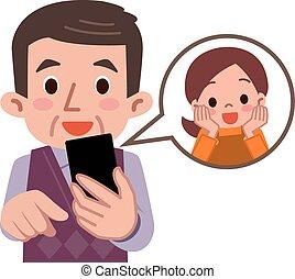 érintkezés, a, fiúunoka, smartphone