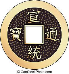 érme, feng, vektor, kínai, shui