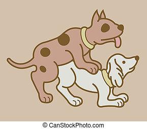 érotique, version, chiens, couple, 6