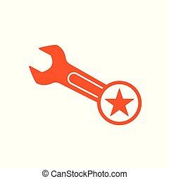 értékelés, csillag, legjobb, kedvenc, cégtábla., csavarkulcs, jelkép, ikon