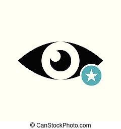 értékelés, csillag, legjobb, kedvenc, cégtábla., ikon, jelkép, kilátás