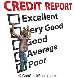 értékelés, nő, őt épület, feláll, hitel, bemetsz, jelent