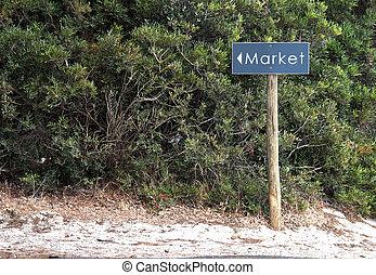 értékesítések, vagy, piac, irányítások, képben látható, egy, fából való, útjelző tábla