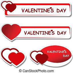 értesítés, valentines, -, címke, vektor, bizottság, nap