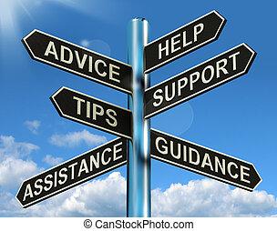 értesülés, segítség, útjelző tábla, tanács, eltart,...