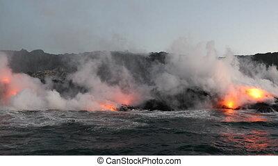 éruption, grand, lave, -, île, hawaï, océan, volcan, ...