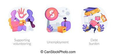 éruption, illustrations., vecteur, résumé, socio-economic, ...