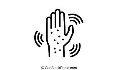 éruption, main, icône, animation, ligne