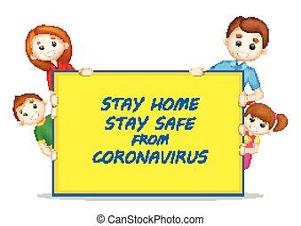 éruption, mortel, coronavirus, prévention, séjour, épidémie, fond, maison, monde médical, projection, roman, 19, sûr