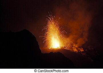 éruption, nuit, stromboli, volcan