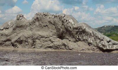 éruption, volcans, -romania, texture, berca, buzau, -, boue