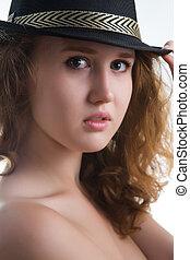 érzéki, leány, alatt, egy, kalap, noha, egy, gyönyörű, meztelen, body.